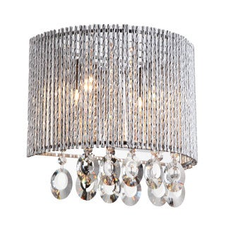 Crystalline Round 2-light Crystal Wall Sconce