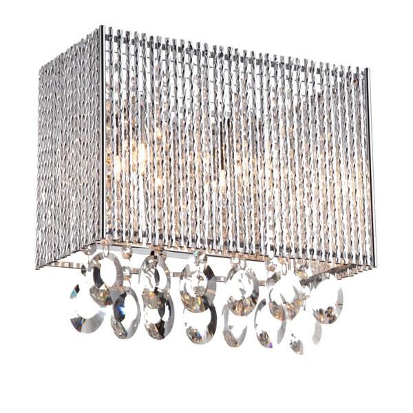 Bromi Design Crystalline Chrome Rectangular 2-light Wall Sconce