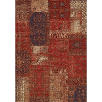 Curio Red/ Cream/ Blue Antique Patchwork Rug (7'10 x 10'10)