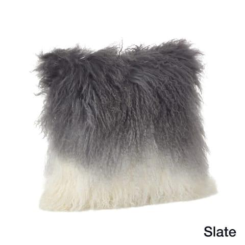 Mongolian Lamb Fur Ombre Throw Pillow