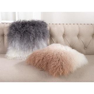 Mongolian Lamb Fur Wool Poly Filled Throw Pillow