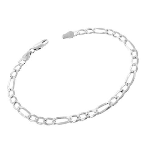 """Sterling Silver Italian 5mm Figaro Link Diamond-Cut ITProLux Solid 925 Bracelet Chain 8.5"""", 9"""""""