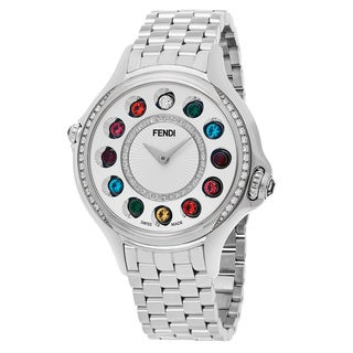 Fendi Women's F107034000B2T05 'Crazy Carats' Silver Diamond Dial Stainless Steel Muliti Colored Topez Swiss Quartz Watch