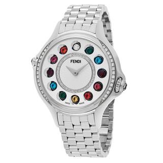 Fendi Women's F107034000B2T05 'Crazy Carats' Silver Diamond Dial Stainless Steel Muliti Colored Topez Swiss Quartz Watch