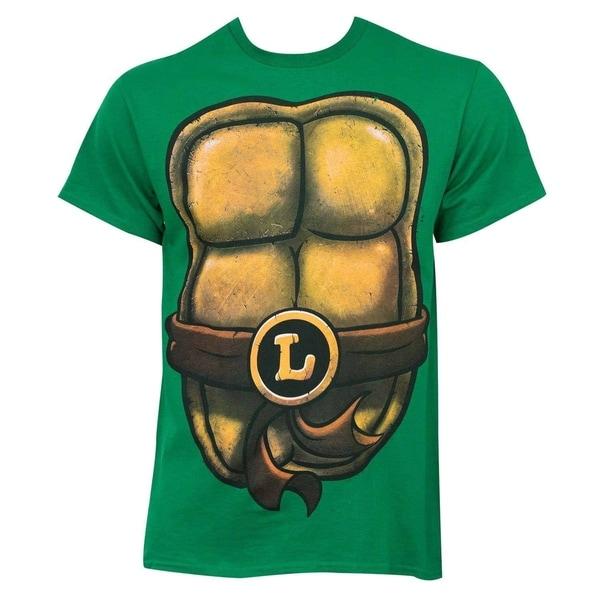 Teenage mutant ninja turtles men 39 s leonardo green cotton for Green turtle t shirts review