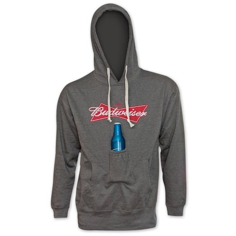 Men's Budweiser Grey Polyester Bowtie Can Logo Beer Pouch Hoodie