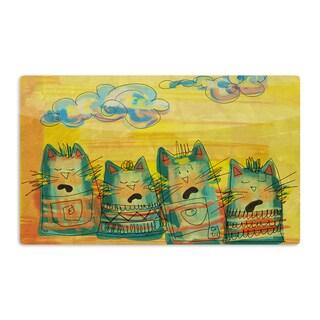 KESS InHouse Carina Povarchik 'Singing Cats' Yellow Orange Artistic Aluminum Magnet
