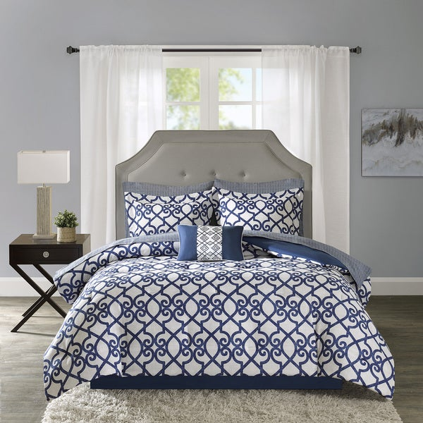 Madison Park Essentials Crystal Navy Complete Comforter and Cotton Sheet Set