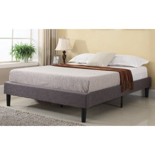 Modern Grey Linen Fabric Platform Bed