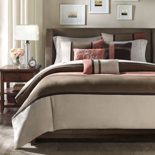 Madison Park Hanover Coral/Natural Duvet Cover Set