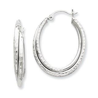 Versil 14k White Gold Diamond-cut Polished Oval Hoop Earrings