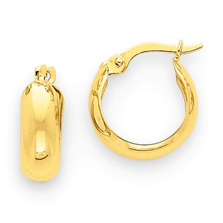 Versil 14k Yellow Gold Polished 4.75mm Round Hoop Earrings