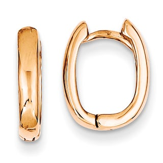 Versil 14k Rose Gold Oval Hinged Hoop Earrings