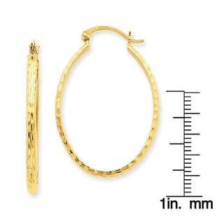Versil 14k Yellow Gold Diamond-cut Oval Hoop Earrings