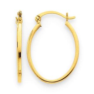 Versil 14k Yellow Gold Lightweight Fancy Oval Hoop Earrings