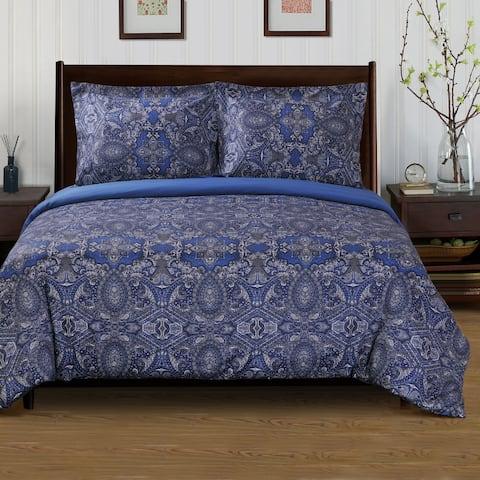 Miranda Haus Alderwood 300 Thread Count Reversible Cotton Duvet Cover Set