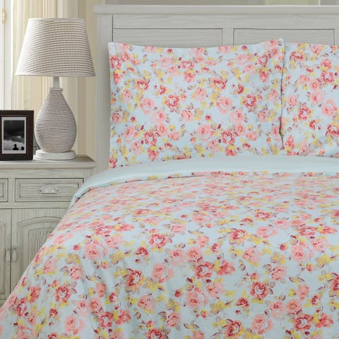 Miranda Haus Bellflower 300 Thread Count Reversible Cotton Duvet Cover Set