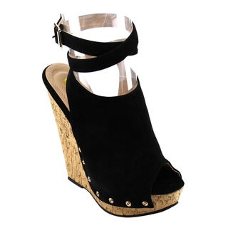 Chase & Chloe Women's Ankle Strap Wedges