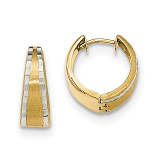 Versil 14k Two-tone Gold Textured and Polished Hinged Hoop Earrings