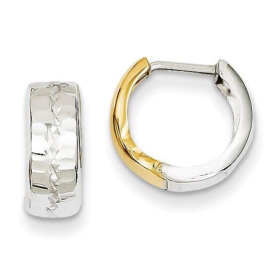 Versil 14k Two Tone Gold Textured Hinged Hoop Earrings