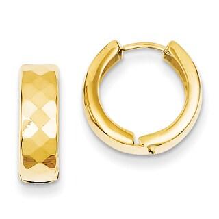 Versil 14k Yellow Gold Textured Hinged Hoop Earrings
