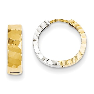 Versil 14k Two-tone Gold Textured Hinged Hoop Earrings