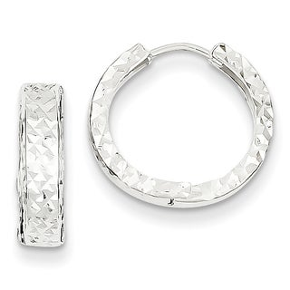 Versil 14k White Gold Diamond-cut Hinged Hoop Earrings
