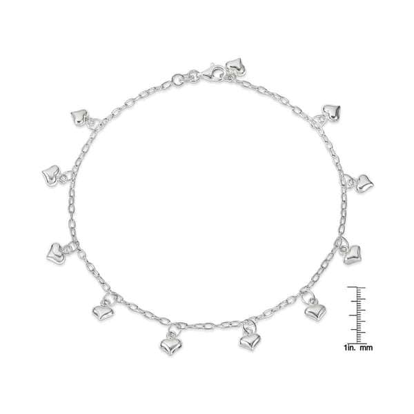 Versil Sterling Silver Polished Puffed Heart Anklet