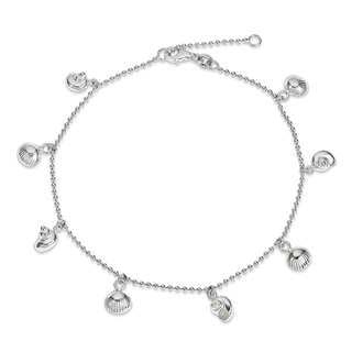 Versil Sterling Silver Polished Sea Shell Anklet