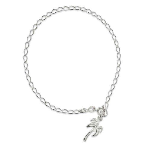 Versil Sterling Silver Palm Tree 9 inch Anklet