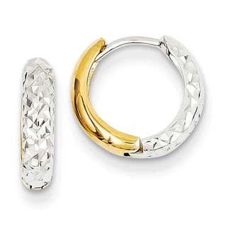 Versil 14k Two-tone Gold Diamond-cut Hoop Earrings