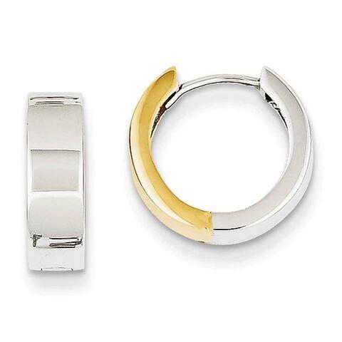 14k Two-tone Gold Hinged Hoop Earrings by Versil