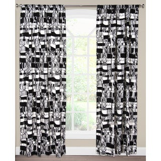 SIScovers Scratch White/Black Cotton/Nylon Curtain Panel