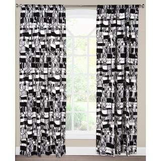 SIScovers Scratch White/Black Cotton/Nylon Curtain Panel (As Is Item)