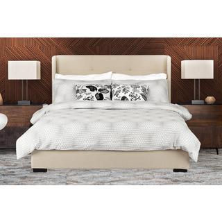 Avenue Greene Murano Queen Tufted Wingback Beige Linen Upholstered Bed