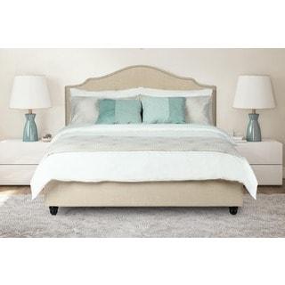 Avenue Greene Averna Beige Linen Upholstered King Bed with Nailhead Detail