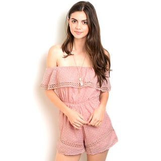 Shop the Trends Women's Cotton/Polyester Off-the-shoulder Woven Romper With Flounce Layer Neckline|https://ak1.ostkcdn.com/images/products/12120854/P18980505.jpg?impolicy=medium