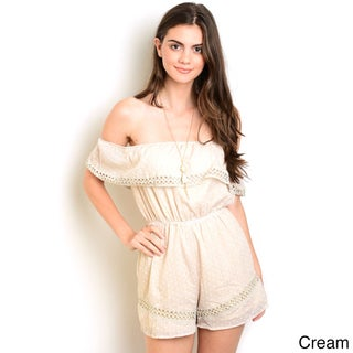 Shop the Trends Women's Cotton/Polyester Off-the-shoulder Woven Romper With Flounce Layer Neckline (Option: Small-Cream Ivory)