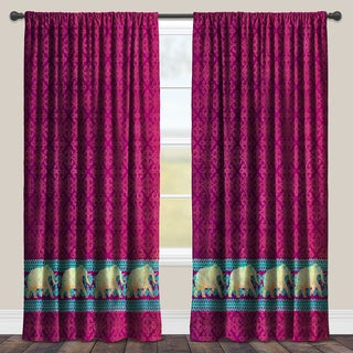 Laural Home Purple Moroccan Elephants Darkening Window Curtain