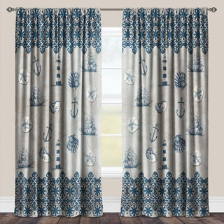 Laural Home Sailing the Ocean Blue Taupe and Blue Room Darkening Window Curtain