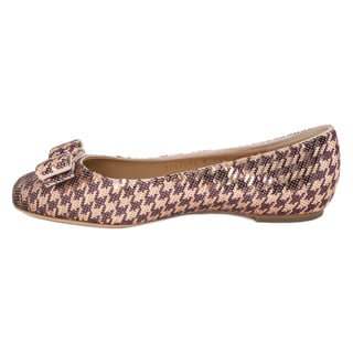 Salvatore Ferragamo Sequins Varina Ballet Flats in Rose Gold and Burgundy