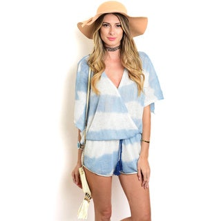 Shop the Trends Women's Blue/White/Grey Polyester/Rayon Short Flutter-sleeve Romper with Surplice Front