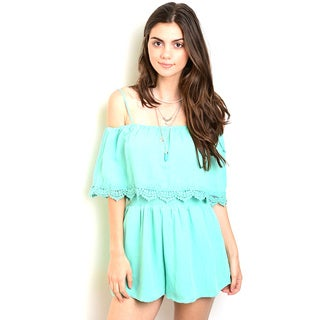 Shop the Trends Women's Spaghetti Green/Pink Cotton/Polyester Strap Woven Short Sleeve Romper