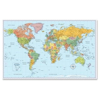 World laminated map 38 inch x 25 free shipping on orders over rand mcnally world wall map multi sciox Images