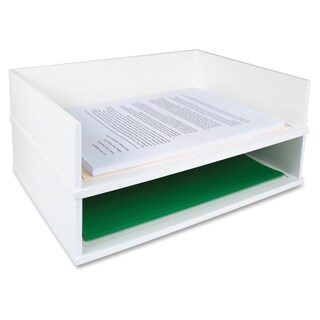 Victor Pure White Collection Wood Stacking Letter Tray - White