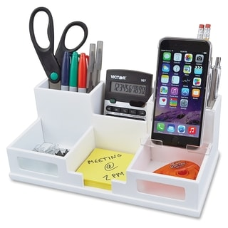 Victor Pure White Collection Wood Desk Organizer with Smart Phone Holder - White
