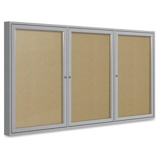 Ghent 3-Door Outdoor Enclosed Vinyl Bulletin Board - Aluminum