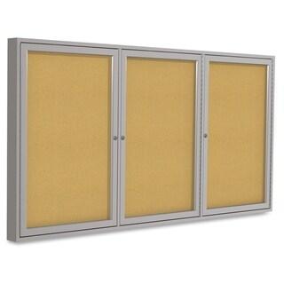 Ghent 3-Door Indoor Enclosed Bulletin Board - Satin Aluminum