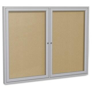 Ghent 2-Door Outdoor Enclosed Vinyl Bulletin Board - Aluminum