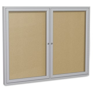 Ghent 2-Door Outdoor Enclosed Vinyl Bulletin Board - Aluminum